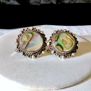 🎁VINTAGE Sterling and Abalone Earrings